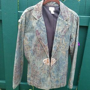Chicos Size 2 Embellished Denim Blazer Jacket
